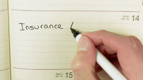 Written record about insurance agent meeting stock footage