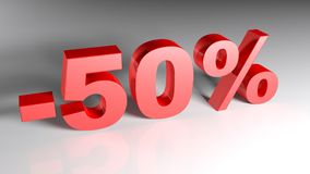 Discount 50% - 3D rendering. 50% written with red 3D letters standing on a white surface - 3D rendering illustration Stock Photography