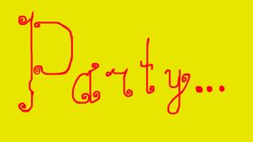 Written red English word: Party on a yellow background. stock photography