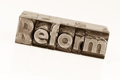 Written reform in lead letters Royalty Free Stock Photography
