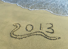 2013 written in sand Stock Photography