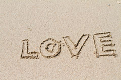 Written in the Sand on Beach Stock Image