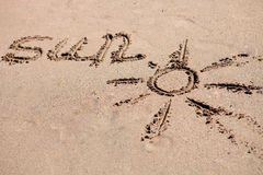 Written on the sand of the beach Royalty Free Stock Images