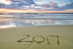 2017 written on a sand beach Stock Photos