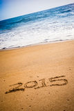 2015 written into the sand on a beach Stock Photography