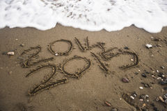 2015 written on sand. Stock Photography