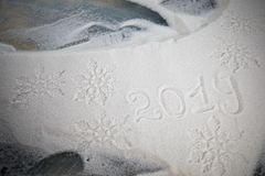 2019 written on the snow. Happy new 2019 year. Empty space for your text. Artwork decoration royalty free stock photos