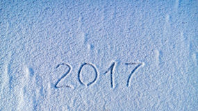 2017 written in snow  Royalty Free Stock Photography