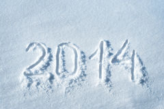 2014 written in snow Stock Images
