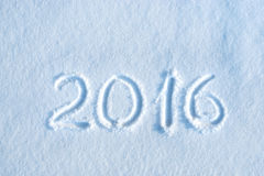 2016 written in snow Stock Image