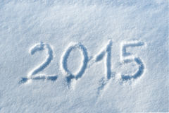 2015 written in snow Royalty Free Stock Photos