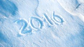 2016 written in snow #3 Royalty Free Stock Photos