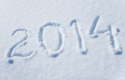 2014 written in snow Royalty Free Stock Images