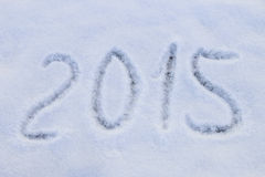 2015 written on snow Royalty Free Stock Image