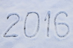 2016 written on snow Stock Photos