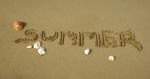 The written summer on the beach Royalty Free Stock Photo