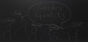 Written text with chalk on blackboard: Gender equality. stock image