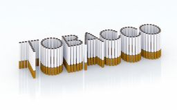 Written tobacco with cigarettes. 3d illustration Royalty Free Stock Images