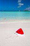 2016 written on tropical beach white sand with Royalty Free Stock Photos