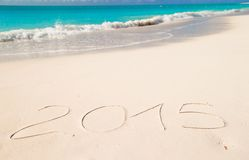 2015 written on tropical beach white sand Royalty Free Stock Photography