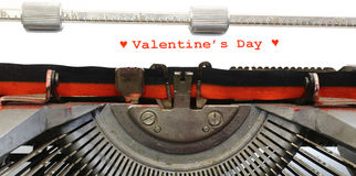Written typewriter Valentins's Day with red ink Royalty Free Stock Images