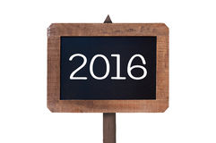 2016 written on a vintage wooden post sign isolated on white Stock Images