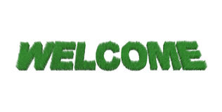 Written welcome made with grass. 3d illustration Royalty Free Stock Photo
