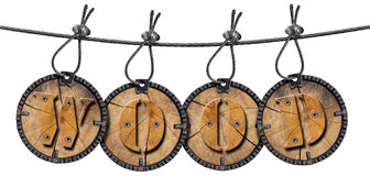 Written Wood Circular Tags Royalty Free Stock Photography