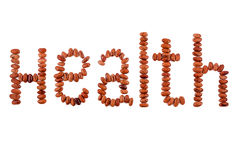 The written word bean seeds. The written word health bean seeds on a white background Royalty Free Stock Images