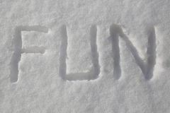 Written the word fun in the snow Royalty Free Stock Image