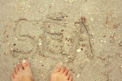 Written word sea on the beach sand Royalty Free Stock Photo