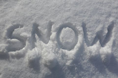 Written the word snow Stock Photography