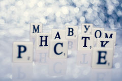 Written word of tiles with white letters Stock Image