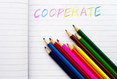 Written words by colorful pensils Stock Images