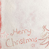 Written words Merry christmas on a snow field, new year concept. Royalty Free Stock Photography