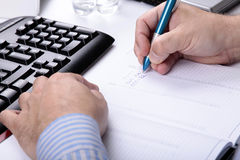 Writting Memo about meeting in Calendar Royalty Free Stock Photo