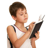 Writting thoughtful kid Stock Images