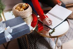 Writting the wish letter for the xmas and new year Royalty Free Stock Photos