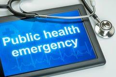 Writtrn di emergenza di salute pubblica sull'esposizione fotografia stock