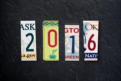 2016 writtten mit US-Lizenzplatten Lizenzfreie Stockfotografie