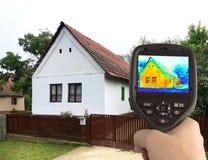 Wärmebild des alten Hauses Stockbild