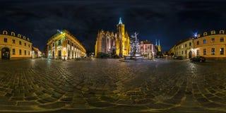 WROCŁAWSKI, POLSKA, WRZESIEŃ -, 2018: noc folował bezszwową bańczastą panoramę 360 stopni gromadzkiego Ostrow Tumski z iglicami fotografia royalty free