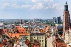 WrocÅ-'Aw vom Kirchturm lizenzfreies stockfoto