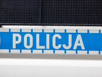 Wrocław, Poland - June 8, 2019: Close-up of police logo on police car Policja means Police stock photography