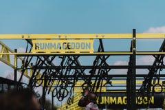 WROCŁAWSKI, POLSKA, KWIECIEŃ - 8; 2018: Runmageddon - krańcowy competiti fotografia stock