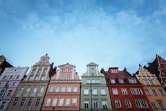 Wrocławski, Polska 22nd 2016 Październik Kolorowi domy w histor Fotografia Stock