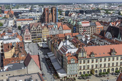 WROCŁAWSKI, POLSKA, LIPIEC - 07, 2016: Scenicznego lata powietrzna panorama o Zdjęcia Stock