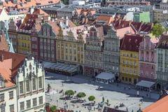 WROCŁAWSKI, POLSKA, LIPIEC - 07, 2016: Scenicznego lata powietrzna panorama o Obrazy Royalty Free