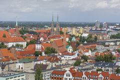WROCŁAWSKI, POLSKA, LIPIEC - 07, 2016: Scenicznego lata powietrzna panorama o Fotografia Royalty Free