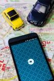 WROCLAW, ΠΟΛΩΝΙΑ - 11 ΑΥΓΟΎΣΤΟΥ 2016: Το Uber app είναι συχνά χρησιμοποιημένο φ Στοκ Εικόνες